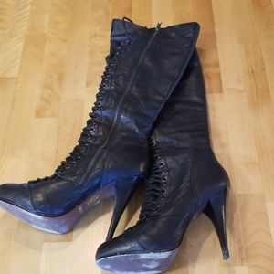BAKERS Boots Leather Tall Heels Black Sz 9